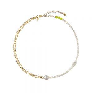 Maria Black - Positano halskæde i forgyldt sølv med perler og kvarts. Den klassiske Dean kædeer her kombineret med hvideferskvandsperler og gule kvarts. 300384YG