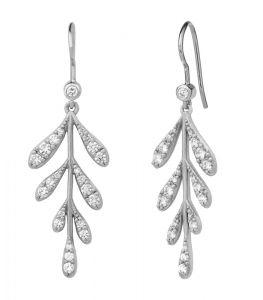 byBiehl Forest Sparkle sølv øreringe med zirkoner formet som blade, 4-2303a-R