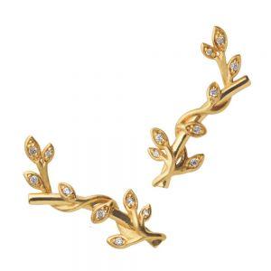 by Biehl Jungle Ivy Sparkle ørestikker i forgyldt sølv med zirkoner placeret i de små blade, 4-3102a-GP
