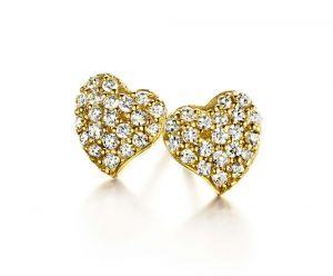 Spirit Icons - Glowing Heart ørestikker i forgyldt sølv. De romantiske øreringe er hver formet som et fint lille hjerte, paveret med små hvidezirkoina. 40012
