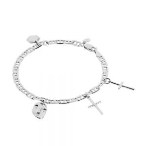 Maria Black - Friend charm armbånd i sølv. Armbåndet har en chunky kæde, med vedhæng i asymmetrisk rækkefølge. 400232AG.