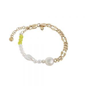 Maria Black - Positano armbånd i forgyldt sølv. Armbåndet er designet som en kombination af kæde, gule kvarts og ferskvandsperler. Længden er justerbar. 400252YG