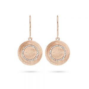 Spirit Icons - Iris ørehængere i rosaforgyldt sølv. Hver ørering er designet med en rund matteret plade, med en cirkel af små hvide zirkonia. 40104