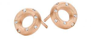 Taste ørestikker i rosaforgyldt sølv med zirkonia. Øreringene er designet med en matteret overflade, udsmykket medenkelte hvide zirkonia. 40264