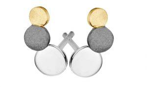 Spirit Icons - Steps ørestikker i 3-farvet sølv, med 3 cirkler, 40283