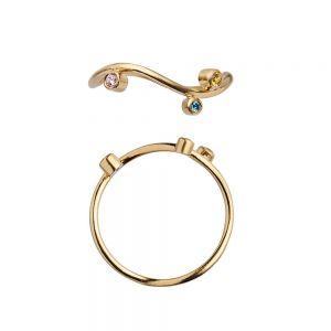 Wavy Candy ring i forgyldt sølv med farvede zirkoner fra Stine A