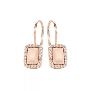 Spirit Icons - Glory ørehængere i rosaforgyldt sølv. De fine øreringe erdesignet som små matte rektangler, med en række småzirkonia langs kanten. 40564