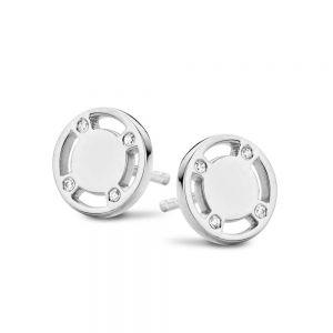 Spirit Icons - Casino ørestikker i sølv med zirkonia. Øreringene er designetsom en blankpoleret rund plade med fire udskæringer. 40651