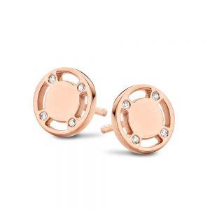 Spirit Icons - Casino ørestikker i rosaforgyldt sølv. Øreringene er designetsom en rund plade med fire udskæringer. Mellem udskæringerne er små zirkonia. 40654