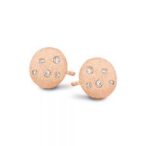 Spirit Icons - Stardust ørestikker i rosaforgyldt sølv. De runde øreringe har en smuk mat overflade, med små zirkonia der symboliserer stjernehimlen. 40674