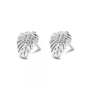 Spirit Icons - Tropic ørestikker isølv. De elegante øreringehar en smuk matteret overflade,udformet som et palmeblad. 40821.