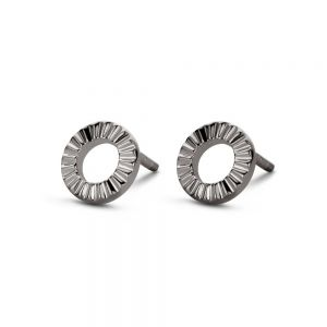 Spirit Icons - Peak ørestikker i sort ruthineret sølv, formet som en cirkel. 40843