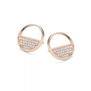 Spirit Icons - Blues ørestikker i rosa forgyldt sølv. De elegante øreringe er formet som en cirkel, der erhalvt paveret med hvide zirkonia. 40874