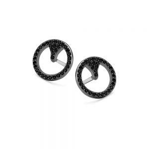Spirit Icons - Blast ørestikker i sort ruthineret sølv med zirkonia. De rundeøreringe er på overfladen fattet med sortezirkonia. Diameter:1,1 cm. 40953
