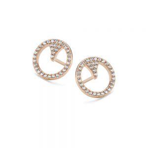 Spirit Icons - Blast ørestikker i rosa forgyldt sølv med zirkonia. De rundefine øreringe er på overfladen fattet med hvide zirkonia. Diameter:1,1 cm. 40954