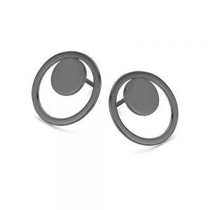 Spirit Icons - Rise ørestikker i sort ruthineret sterlingsølv. Øreringene er designet med en rund plade, placeret i en åben cirkel. Diameter:1,6 cm. 40973
