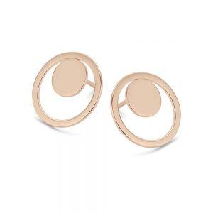 Spirit Icons - Rise ørestikker i rosa forgyldt sølv. De elegante øreringe er designet med en rund plade, placeret i en åben cirkel. 40974.