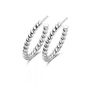 Spirit Icons - Hulahoop Small snoet creoler i sølv, 41001