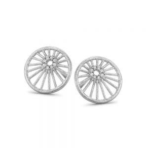 Spirit Icons - Aura ørestikker i matteret sølv med zirkonia. De runde øreringe har et smukt udskåret mønster. I midten er en lille cirkel af små zirkonia. 41291
