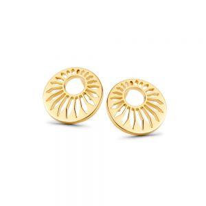 Spirit Icons - Peacock ørestikker i forgyldt sølv. De elegante øreringe er hver designet som en rund plade, med et udskåret mønster. 41312