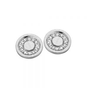 Spirit Icons - Iris ørestikker i 14 karat hvidguld. Øreringene er designet som en rund matteret plade, med en cirkel afbrillantslebne diamanter. 44037