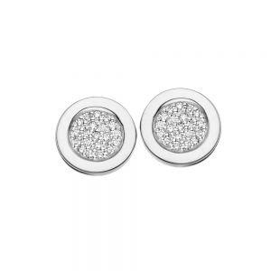 Spirit Icons - Gaia ørestikker i 14 karat hvidguld. Øreringene er hver designet som en cirkel, hvor midten er paveret med brillantslebne diamanter. 44047