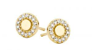 Spirit Icons - Balance ørestikker i 14 karat guld. De små øreringe er designet som en rund blankpoleret plade, med en cirkel af brillantslebne diamanter. 44106