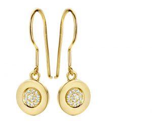 Spirit Icons - Gaia ørehængere i 14 karat guld. De elegante øreringe er designet med en lille cirkel, hvor midten er paveret medbrillantslebne diamanter. 44126
