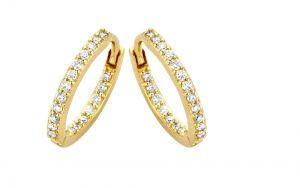 Spirit Icons - Lagoon Small creoler med diamanter. De klassiske øreringe er designet med 0,19ctbrillantslebne diamanter, på både ydersiden og indersiden. 44136