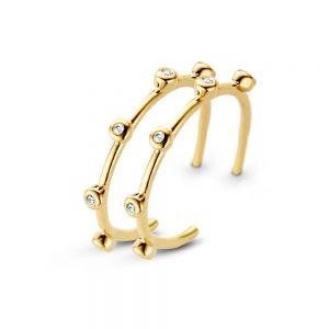 Spirit Icons - Living creoler i 14 karat guld. De elegante hoops øreringe har en blankpoleret overflade, med enkelte brillantslebne diamanter. 44166