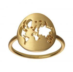 by Biehl Beautiful World ring i forgyldt sølv, Den smukke ring har et rundt verdenskort, jordklode, 5-1601-GP