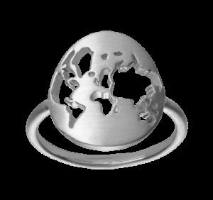 by Biehl Beautiful world sølv ring. Den elegante ring har et rundt moderne verdenskort, 5-1601-R