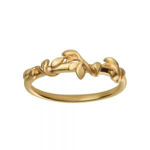 byBiehl Jungle Ivy ring i 14 karat forgyldt sterling sølv. Den elegante ring har lianer med små blade, der snor sig om ringskinnen, 5-3101-GP