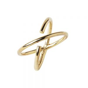 Maria Black - Twin ring i forgyldt sølv. Ringen er fremstillet iet minimalistisk krydsende design. 500316.