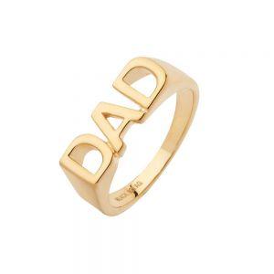 """Maria Black - Dad ring iblankpoleretforgyldt sølv. Ringen med ordet """"DAD"""", er fra Heroes kollektionen. 500346."""