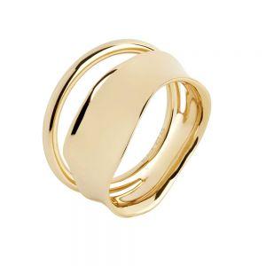 Maria Black - Midnight ring i forgyldt sølv. Den brede ring er designet til at give en illusion af to ringe. 500384YG.