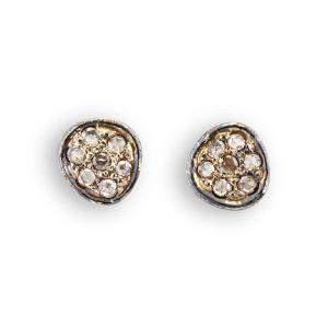 By Birdie - Sol Coin Pavé ørestikker i925 sterling sølv, med 18 karat guld og rosenslebne diamanter. Køb de elegante øreringe hos Guldsmed Boye. 50811264.