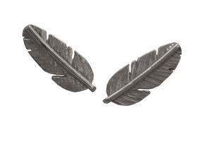 Heiring Feather Mini ørestikker i oxyderet sølv