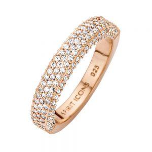 Spirit Icons - Magic ring i blankpoleret rosaforgyldt sølv med zirkonia. Toppen af ringen er paveret med små hvide zirkonia. 51084