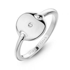 Spirit Icons - Pulse ring i blankpoleret sølv. Ringen er designet med en rund plade, midt i pladen er en 0,01ct diamant. 51121