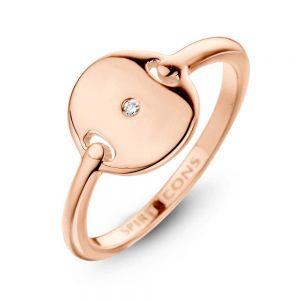 Spirit Icons - Pulse ring rosaforgyldt sølv. Ringen har en smuk blankpoleret overflade. Toppen er designet som en rund plade, med en 0,01ct diamant. 51124