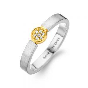 Spirit Icons - Life ring i matteretsølv medzirkonia. Den lille runde top er fremstillet i forgyldt sølv, med små klare zirkonia. 51131