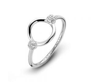 Spirit Icons - Perfection ring i blankpoleretsølv med zirkonia. Ringens top er formet som en elegant åben cirkel. På hver side er små hvide zirkonia. 51141