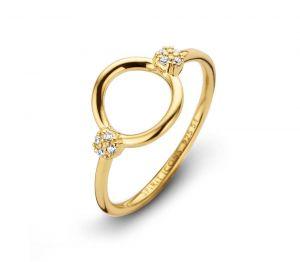 Spirit Icons - Perfection ring i blankpoleret forgyldt sølv. Ringens top er formet som en åben cirkel, med små hvide zirkonia placeret på hver side. 51142