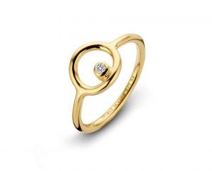 Spirit Icons - Infinity ring i blankpoleret forgyldt sølv. Ringens top er designet som en åben cirkel, med en enkelt klar zirkonia. 51152.
