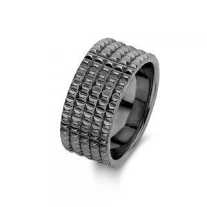 Spirit Icons - Peak ring i sort ruthineret sølv, 51233