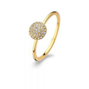 Spirit Icons - Grace ring i forgyldt sølv. Den runde top er paveret med små klare zirkonia. Ringens top har en diameter på 7 mm. 53042.