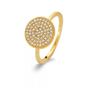 Spirit Icons - Energy ring i forgyldt sølv med zirkonia. Den runde top er paveret med små hvide zirkonia. 53082.