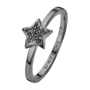 Spirit Icons - Dream ring i blankpoleret sort ruthineret sølv. Toppen er designet som en lille stjerne, med små sorte zirkonia. 53253