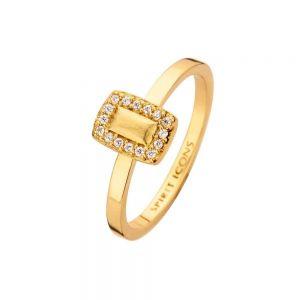 Spirit Icons - Glory ring i forgyldt sølv. Ringens top er designet som en matteret rektangel, med små hvide zirkonia langs kanten. 53402